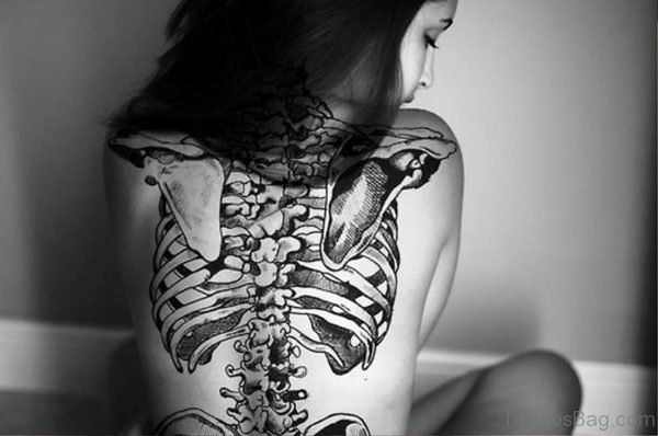 Amazing Skeleton Tattoo On Back