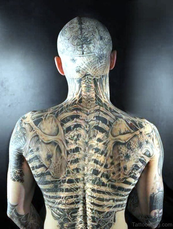 Amazing Skeleton Tattoo On Full Back