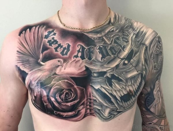 Amazing Skull and Flying Dove Tattoo On Chest