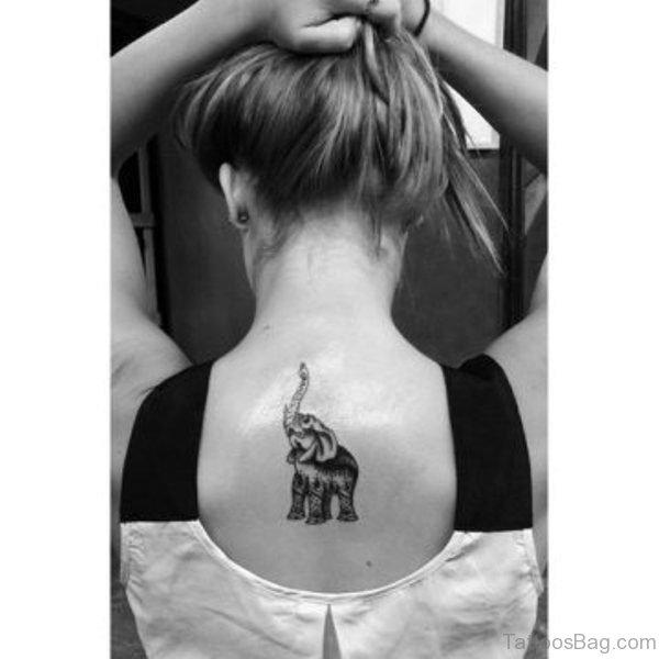 Amazing Small Elephant Tattoo On Back