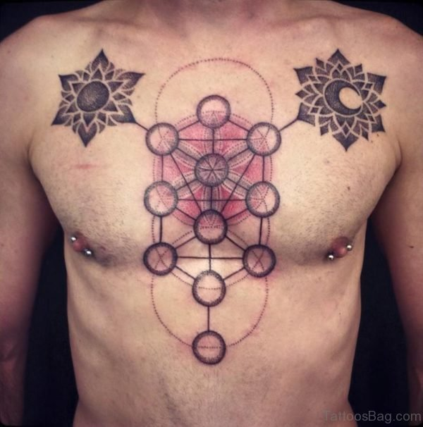 Amazing Sun And Moon Tattoo On Chest
