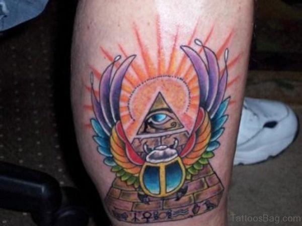 Amazing Sun Egyptian Eye Pyramid Tattoo On Leg