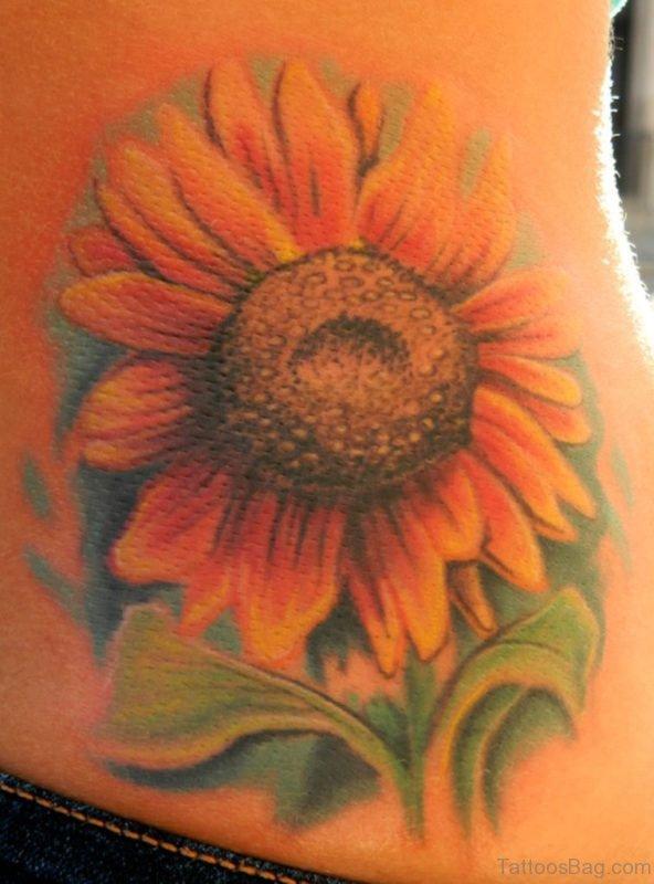 Amazing Sunflower Tattoo On Lower Back
