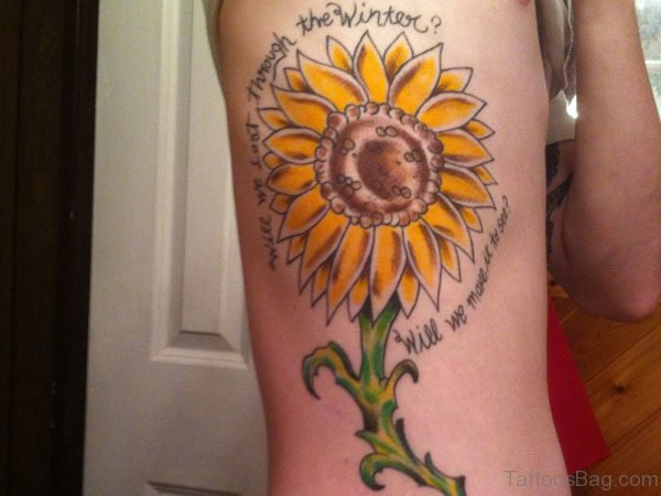 Amazing Sunflower Tattoo On Rib