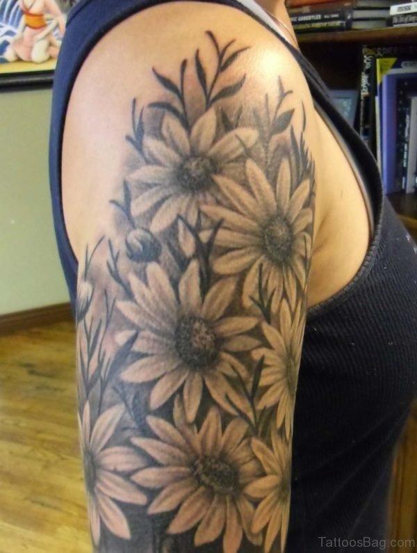 Amazing Sunflower Tattoo On Shoulder