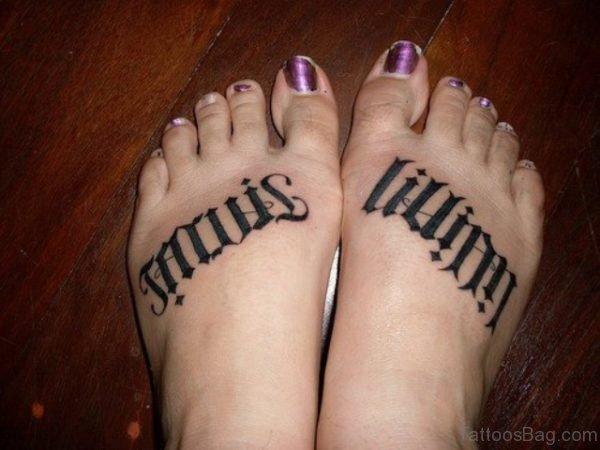 Ambigram Tattoo On Foot