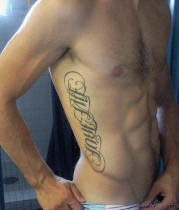 Ambigram Tattoo On Rib