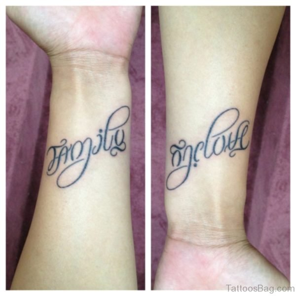 Ambigram Tattoo On Wrist
