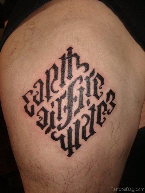 Ambigram Tattoo On shoulder