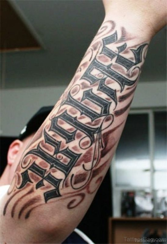 Ambigram Wording Tattoo On Arm
