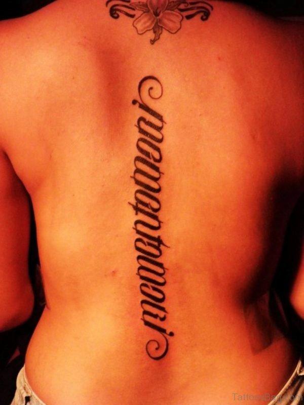 Ambigram Wording Tattoo On Back
