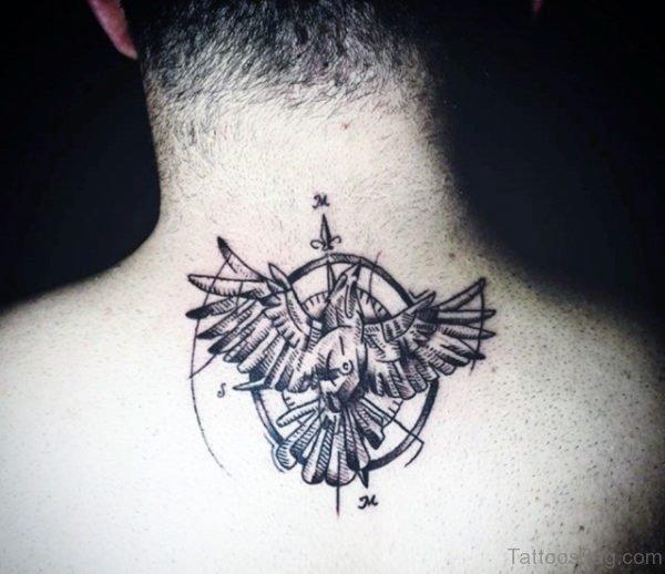 American Eagle Tattoo On Nape