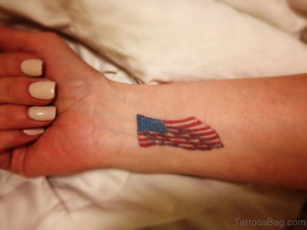 American Flag Tattoo Design On Wrist