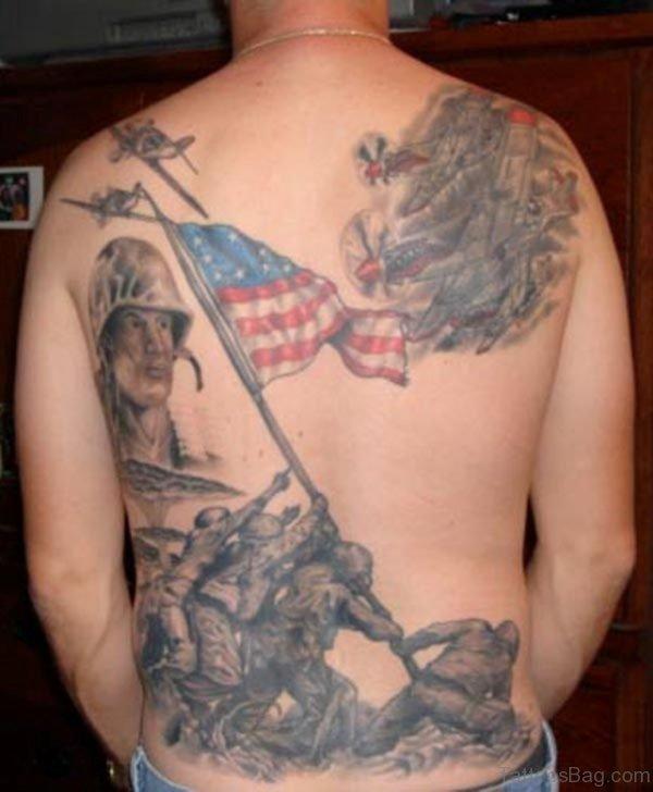 American Flag Tattoo On Back