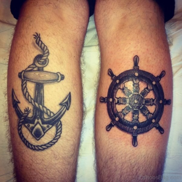Anchor And Ship Wheel Tattoo Leg
