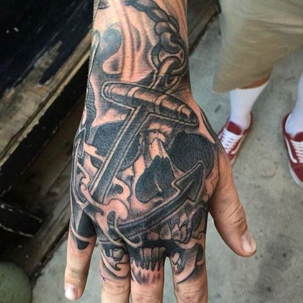 Anchor And Skull Tattoo
