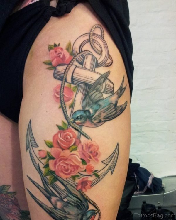 Anchor And Swallow Tattoo On Thigh