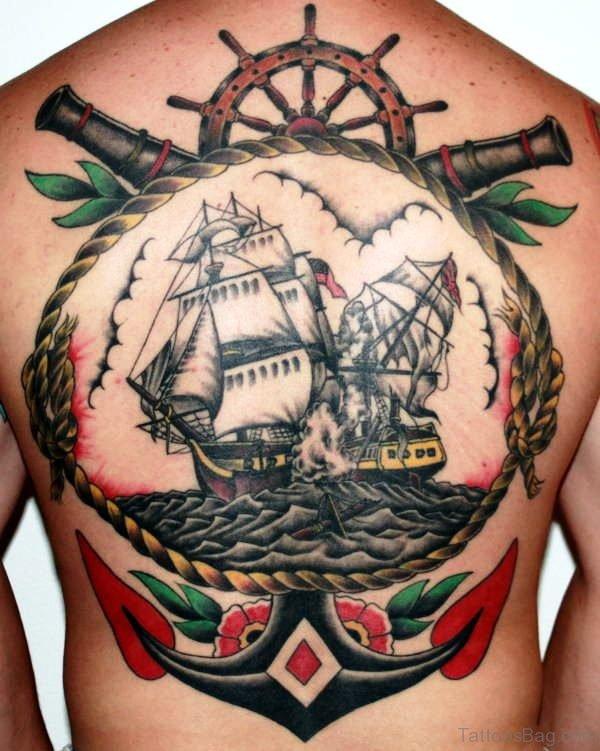 Anchor Navy Ship Tattoo On Back