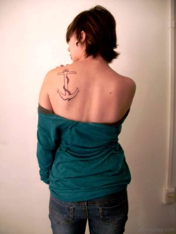 Anchor Navy Tattoo On Back Shoulder
