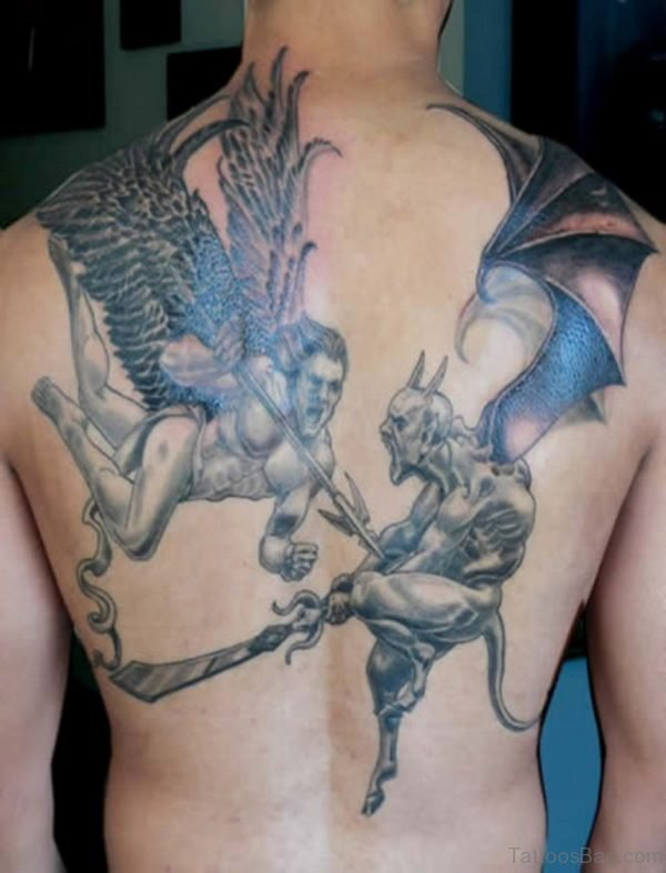 Angel And Devil Tattoo On Back