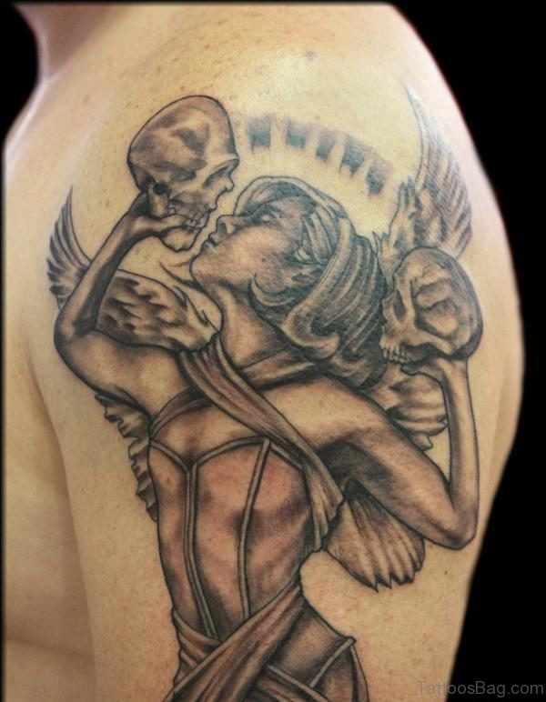 Angel And Skull Tattoo On Shoulder