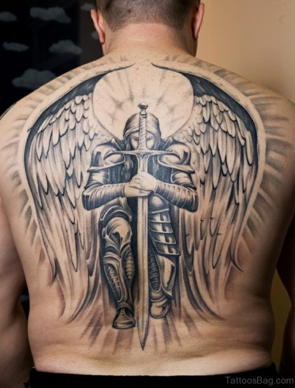 Angel And Sword Tattoo On Back