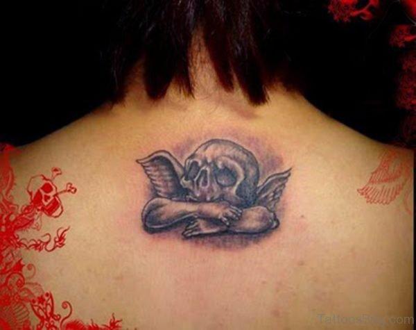 Angel Skull Tattoo for Girls Upper Back