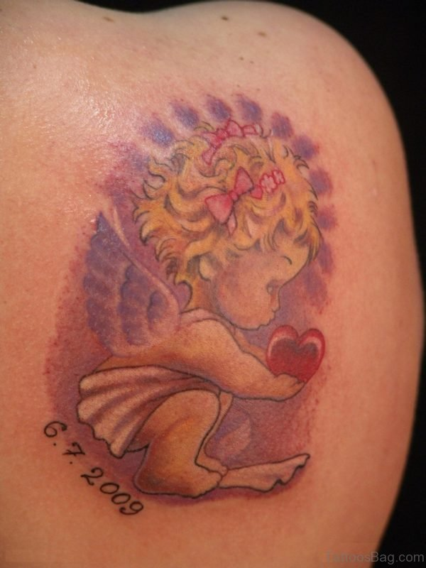 Angel Tattoo Design On Shoulder