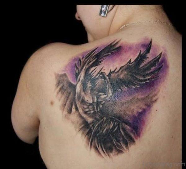 Angel Tattoo On Back Shoulder