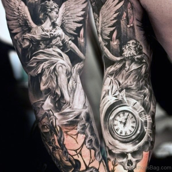 Angel Tattoo On Full Sleeve Image