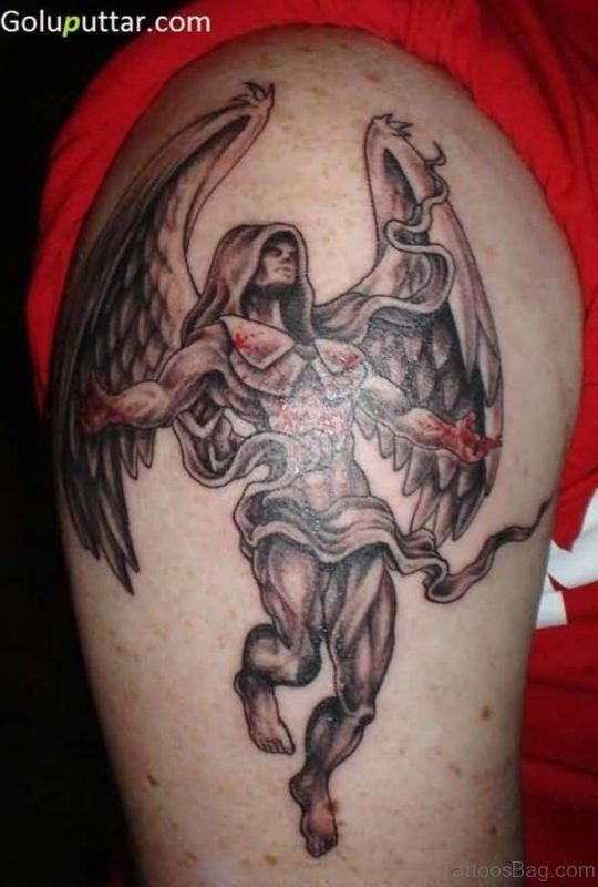 Angel Warrior Tattoo On Shoulder