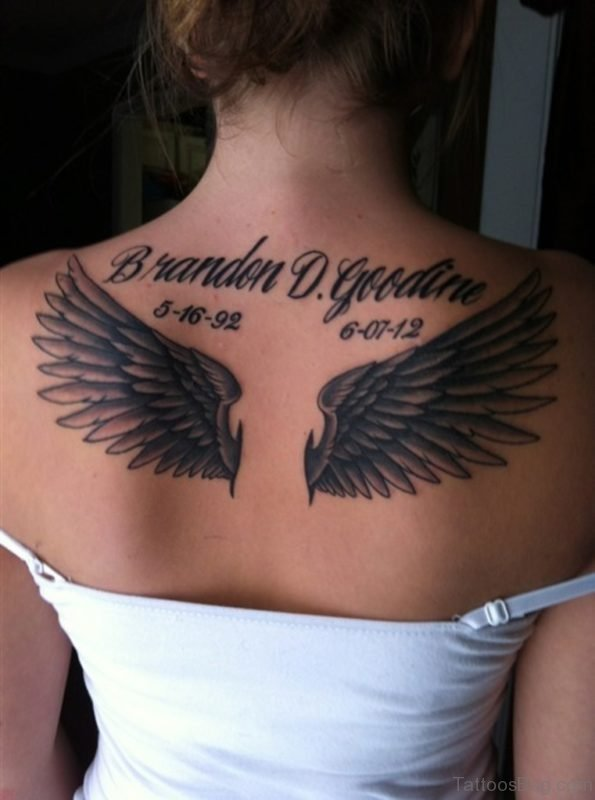 75c7c0eec4512 Angel Wing Tattoo On Upper Back