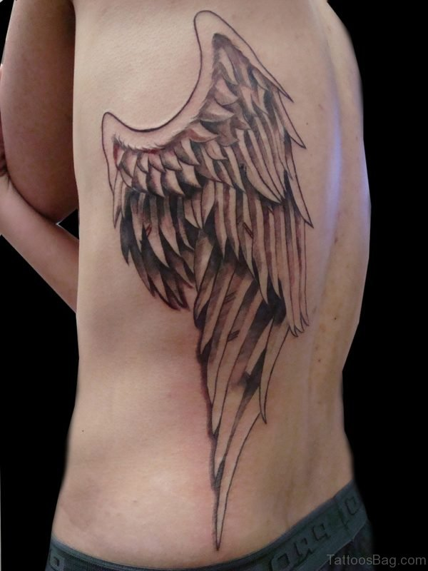 Angel Wings Tattoo On Rib