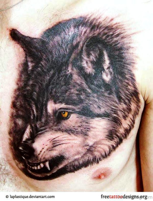 Angry Alpha Wolf Head Tattoo On Chest
