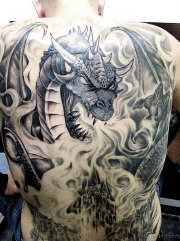 Angry Dragon Back Tattoo