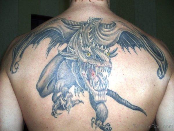 Angry Dragon Tattoo On Back