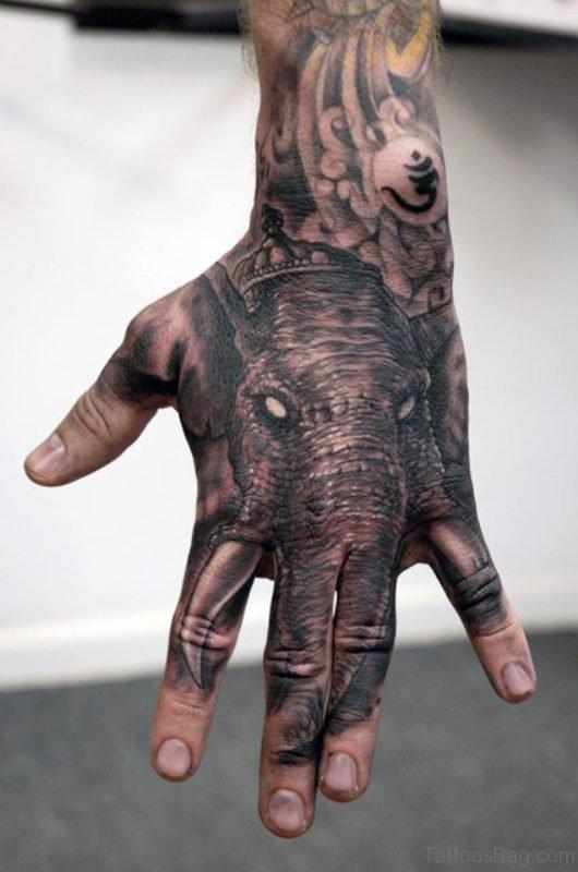 Angry Elephant Tattoo On Hand