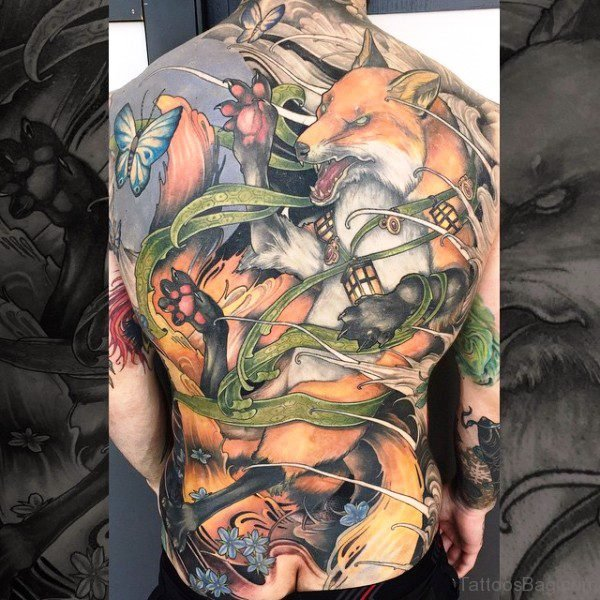 Angry Fox Tattoo On Back