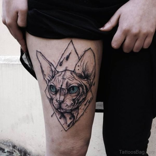 Angry Grey Cat Tattoo On Thigh