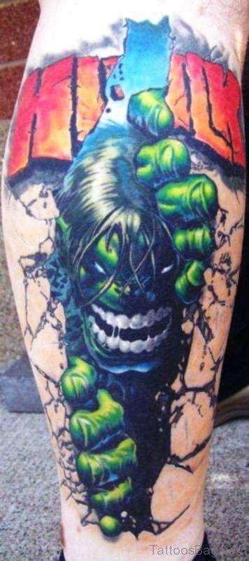 Angry Hulk Tattoo On Calf