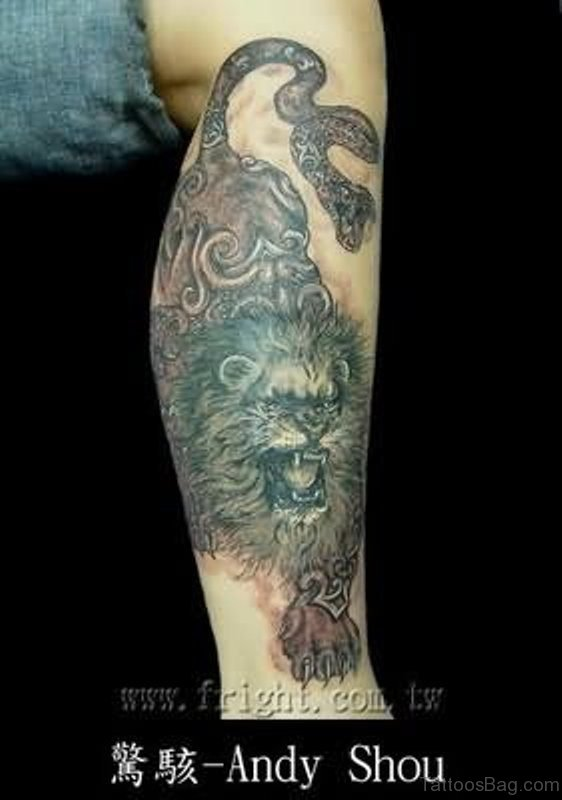 Angry Lion Tattoo On Arm