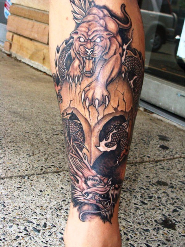 Angry Panther Tattoo On Calf