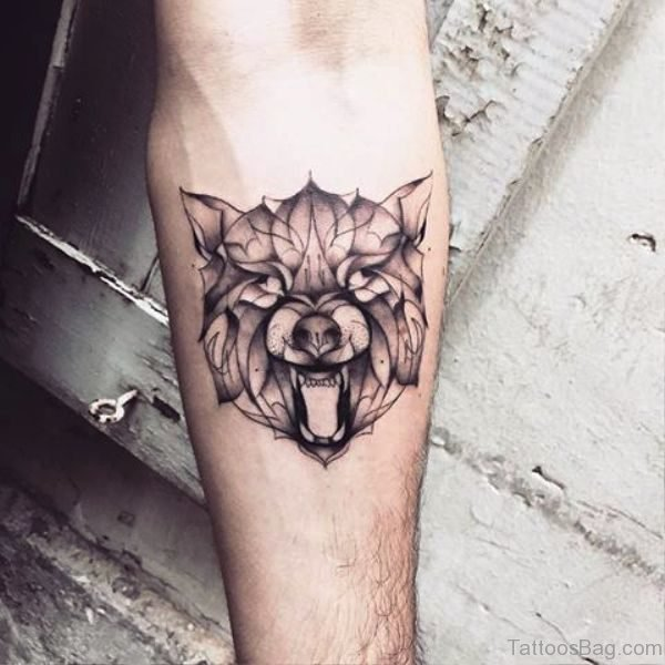 Angry Tribal Alpha Wolf Tattoo On Arm