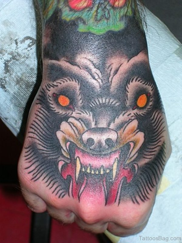 Angry Wolf Tattoo On hand