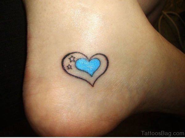Ankle Heart Tattoo