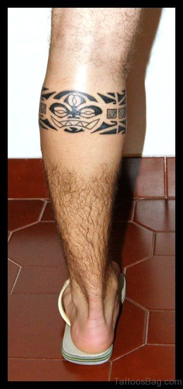 Antic Tribal Band Tattoo On Leg
