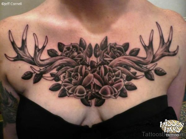 Antler With Flowers Tattoo On Chest