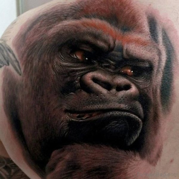 Ape Tattoo Design On BAck