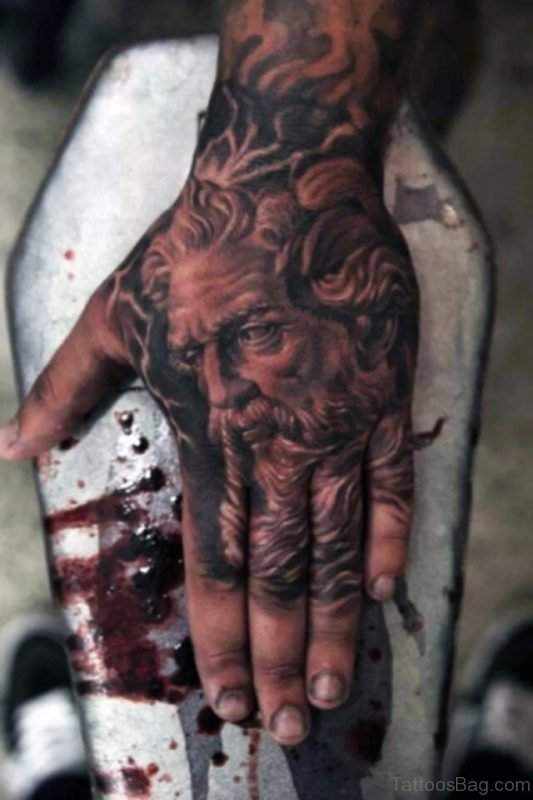 Apollo God Tattoo On Hand