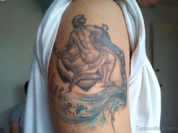 Aquarius Tattoo On Right Shoulder